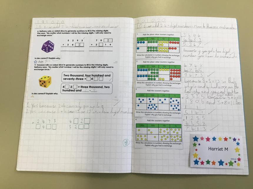 Harriet's superb maths learning.