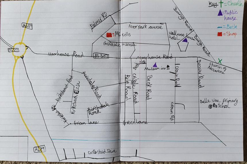 A wonderful map of Belle Vue by Sam from 6HS.