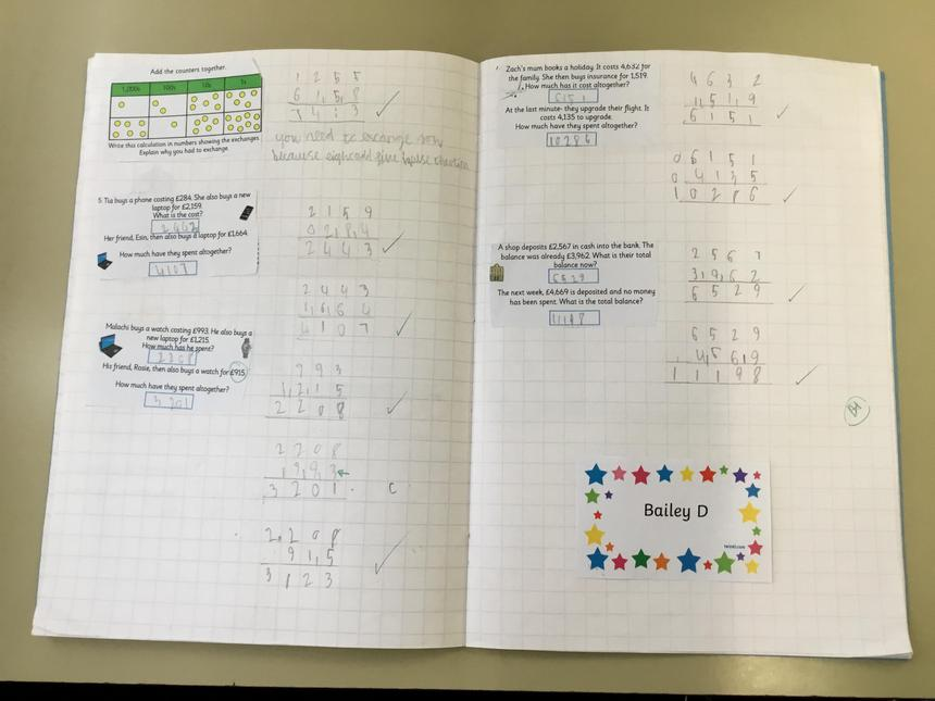 Bailey's beautifully presented maths learning.