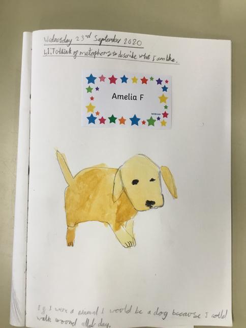 Amelia F's fantastic art work; symbolising herself through art.