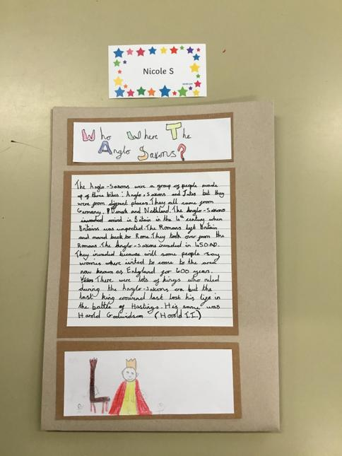 Nicole's fantastic writing from her Anglo-Saxon booklet.