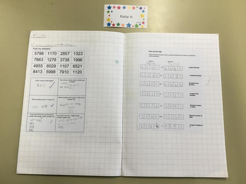 Katie H's brilliant maths work.