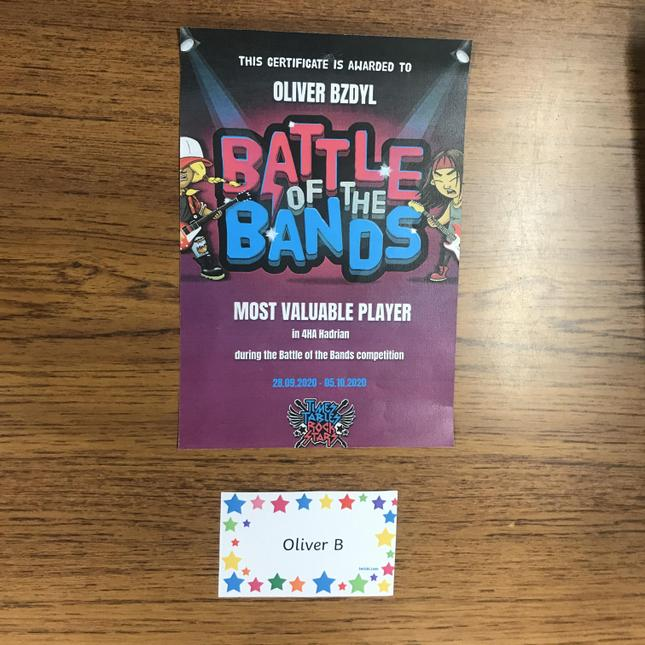 Oliver B's Battle of the Bands certificate.