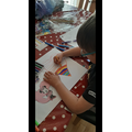 Jamie is making a card for his sister's birthday