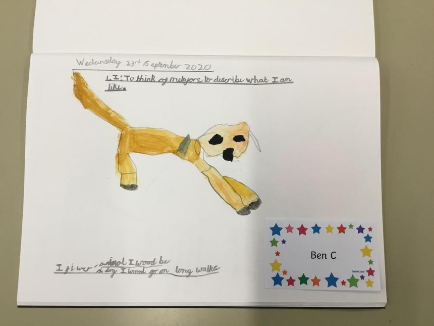 Ben's amazing art work; symbolising himself through art.