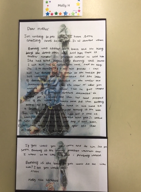 Molly H's amazing letter writing inspired by Beowulf