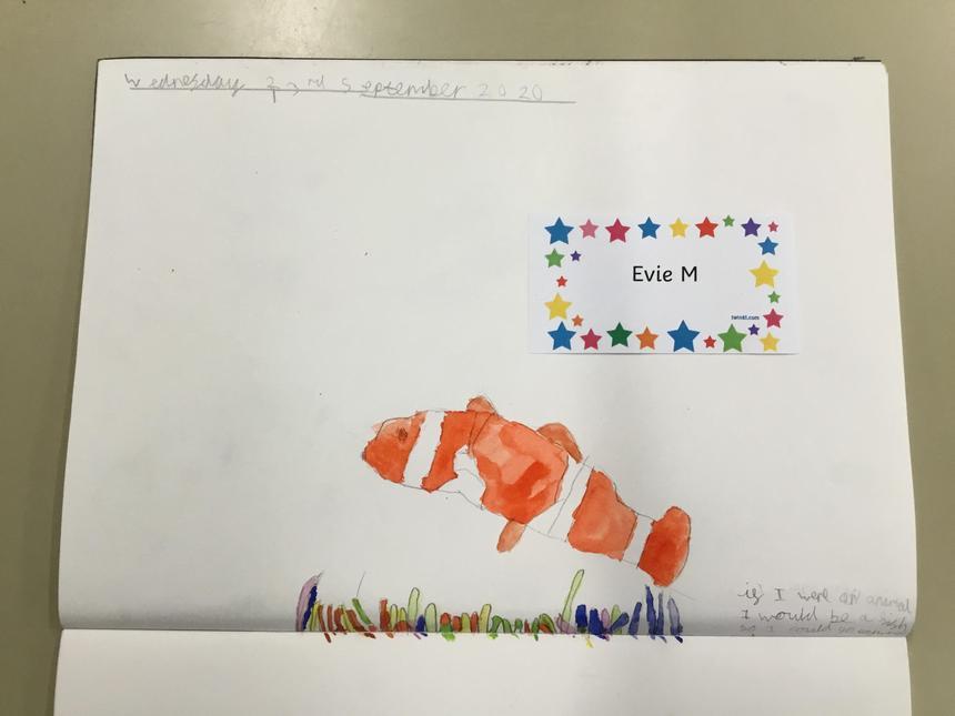 Evie's brilliant art work; symbolising herself through art.