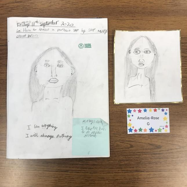 Amelia-Rose's self portrait: 1st draft and final piece- amazing!