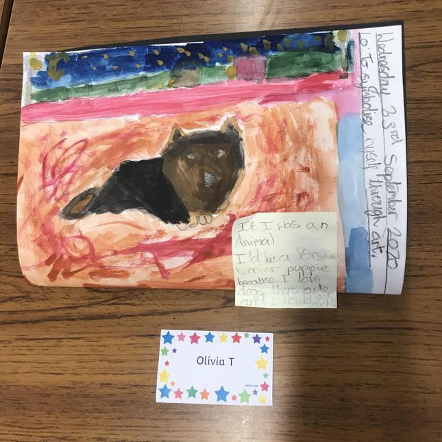 Olivia's stunning art work to symbolise herself through art.