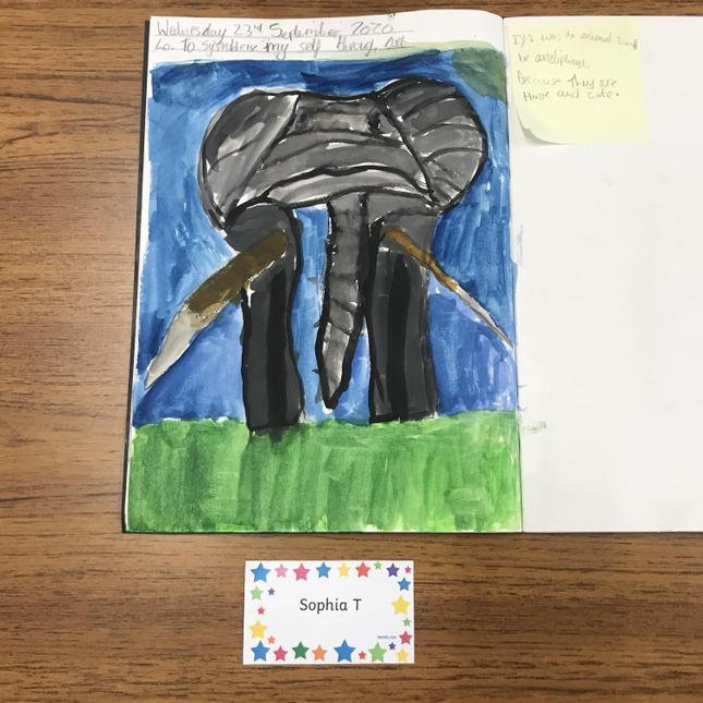 Sophia's fantastic art work; symbolising herself through art.