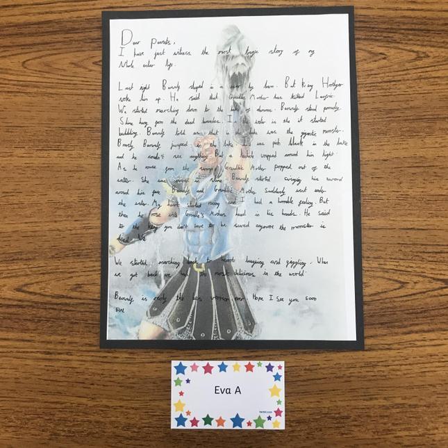 Eva's superb Beowulf letter writing.