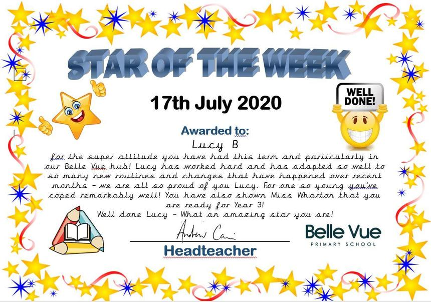 2DC's Lucy B for being absolutely fabulous all this term!