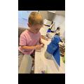 Luca making an alien