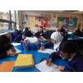 the photos of the pupils are an English lesson where we were looking at diary entries for the story 'Goodnight Mr Tom'.