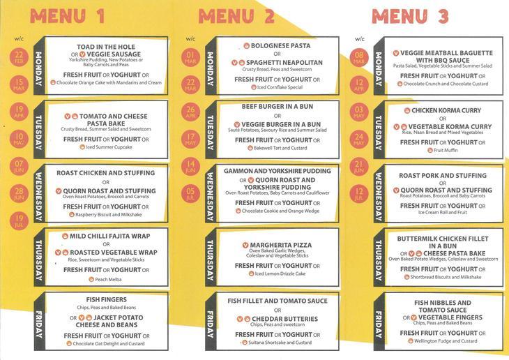 This menu starts on Monday 22nd February 2021