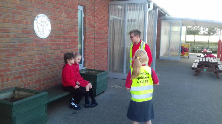 Offering assistance at the Bus Stop.