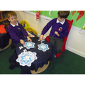 Putting number sentences on the flakes!