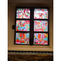 The finished piece displayed on the windows