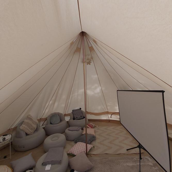 Inside the teepee before the film begins