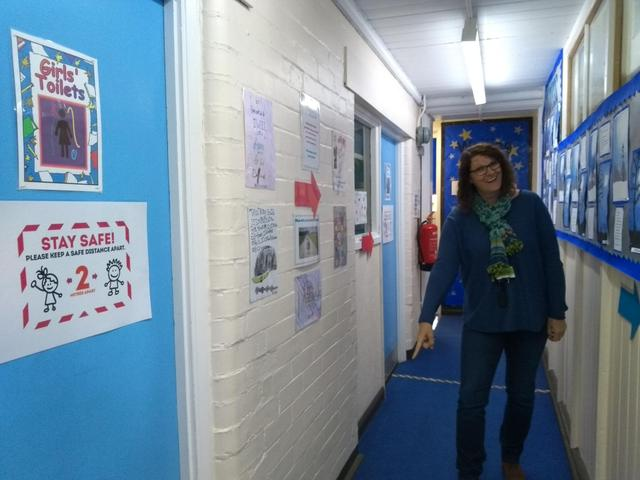 Mrs Holt showing you the 2 metre markings