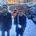 Haseeb and his brothers having fun in the snow.
