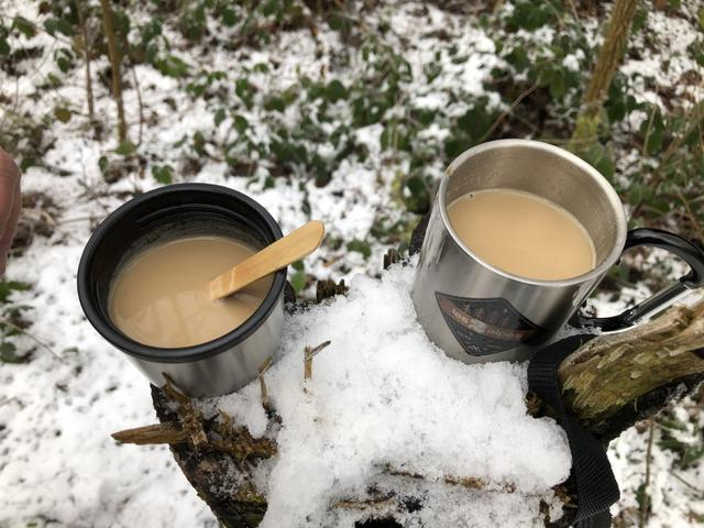 We had a hot cup of coffee.
