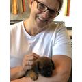 Mrs Holt holding Rodney - 4 weeks old