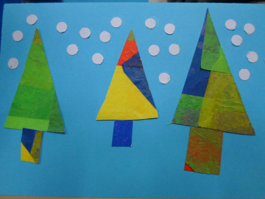 Tissue paper tree cards