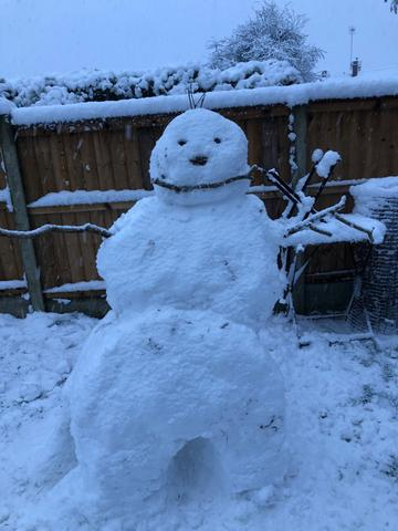 Olivia and Isaac's Snowman.