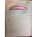 Sohana's rainbow writing.