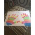 Layla's handprint rainbow.