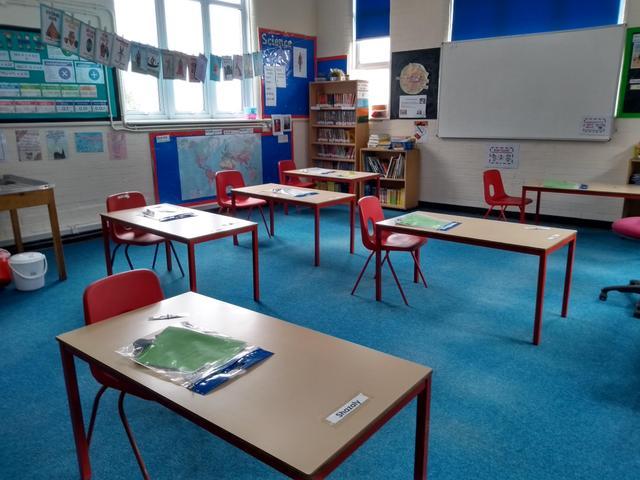 A socially distanced classroom