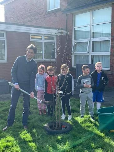 Our children met Ed Milliband to celebrate the opening of the Mental Health garden project