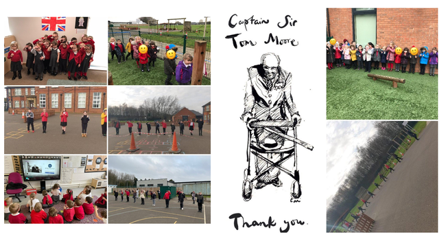 Children celebrated the life of Captain Tom by walking a 100 steps.