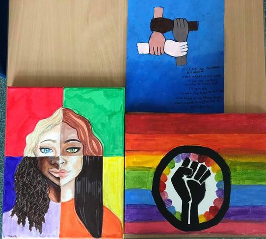 Art work created by our Year 6s as part of a whole school diversity project