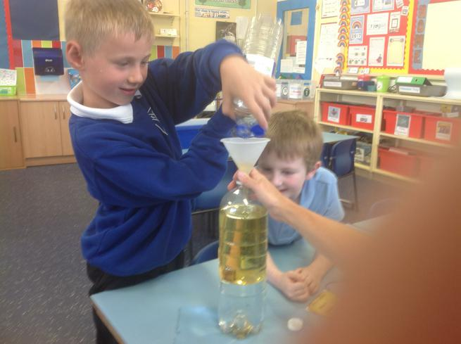 We added some cooking oil to water.