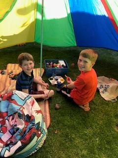 Reece has had fun building a den with Kian.