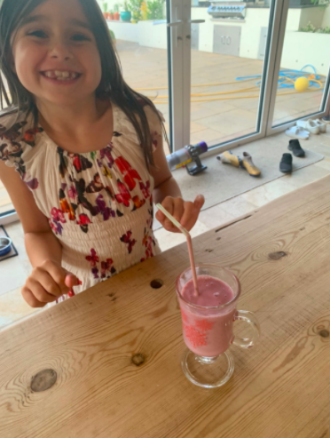 Rose has made a healthy smoothie.
