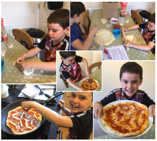 Homemade pizza by Joel.