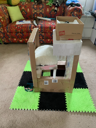 Logan has designed and made a castle for his cat.