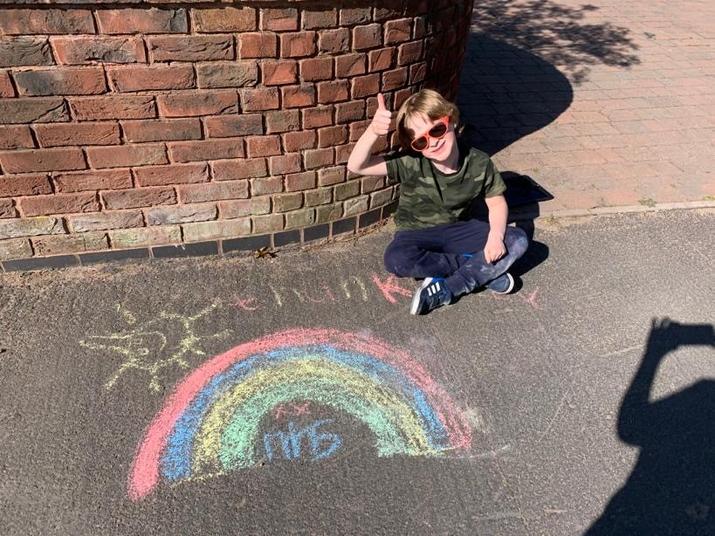 Elliot's chalk rainbow for the NHS.
