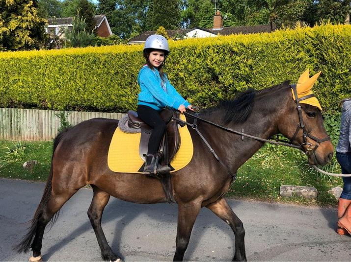 Nancy enjoying her horse riding.