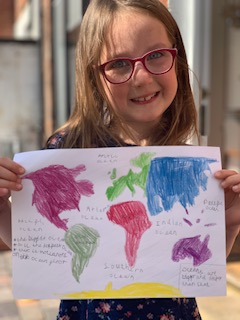 Jenny has labelled the oceans on a world map.