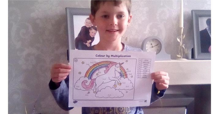 Reece has completed a 3x table colour by numbers.