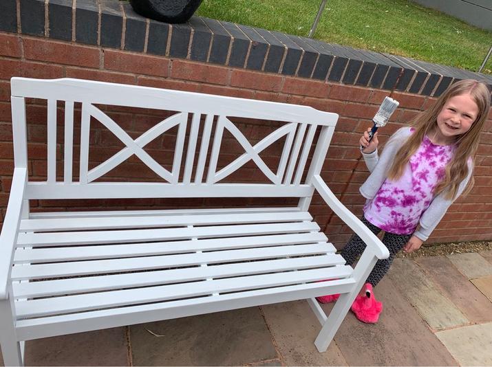 Mia has been busy upcycling a garden bench.