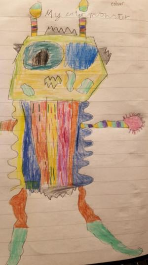 Addy did a wonderful drawing of 'The Colour Monster'.