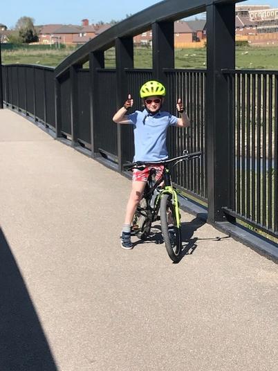 Elliot has been bike riding.