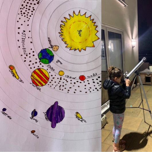 Learning about space with a telescope.
