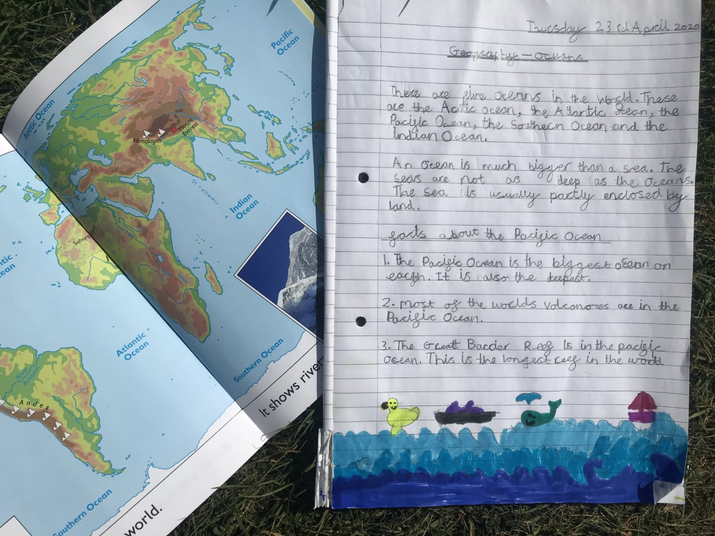 Molly M used an atlas to learn about the oceans.