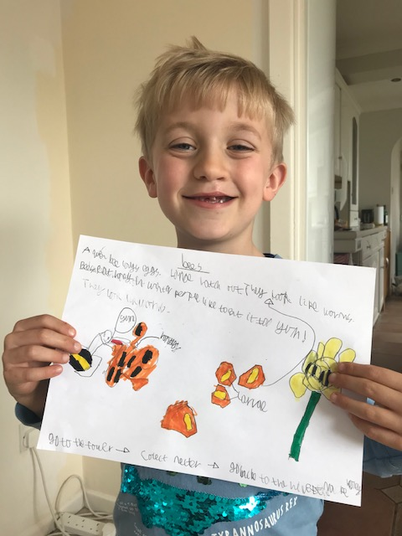 Thomas has written interesting facts about bees.